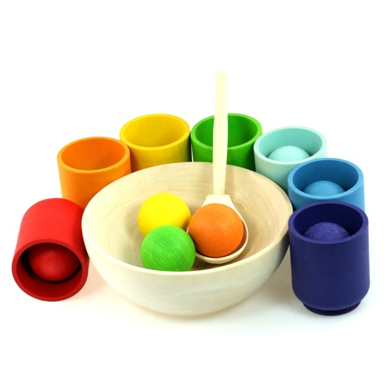 25 Fir Trees Ulanik Forest Montessori Wooden Sorter Game colored with BIOFA wax cover