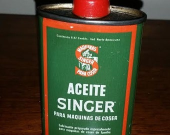 Antique Tin oil can Singer 222K 221 featherweight advertising piece