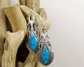 Turquoise vintage earrings and sterling silver dangling