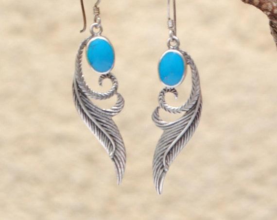 Boucles d'oreilles plumes en turquoise et argent