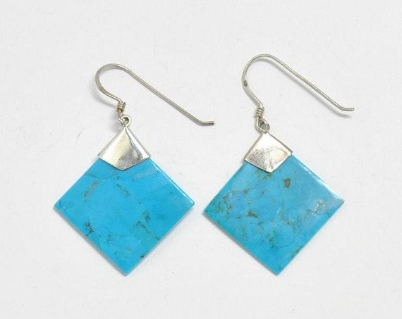 Boucles d'oreilles carré en turquoise amérindienne et argent 925