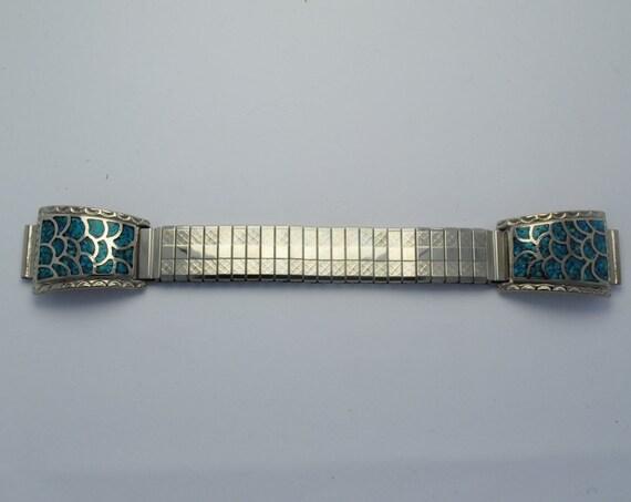 Bracelet montre extensible en turquoise
