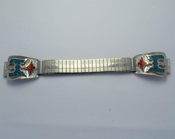 Bracelet montre extensible en turquoise et corail