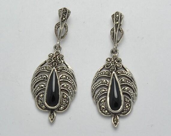 Boucles d'oreille onyx et marcassite en argent