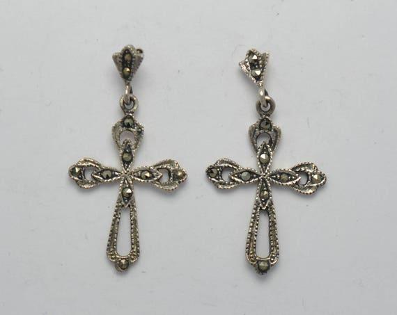 Boucles d'oreille croix en marcassite et argent