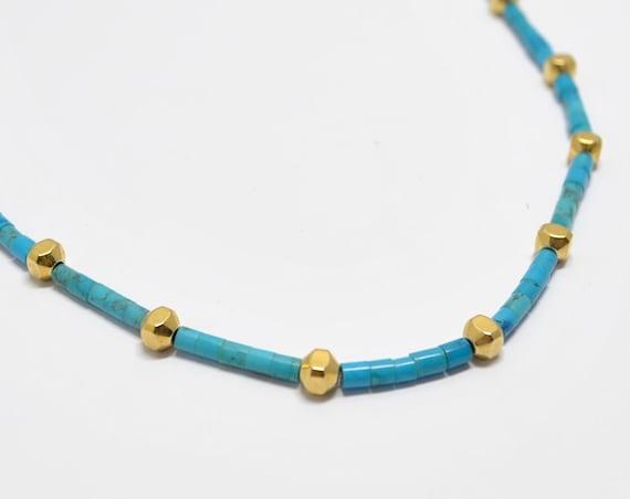 Collier turquoise et perles en rondelles doré
