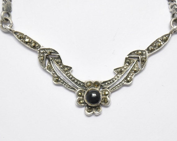 Silver necklace with onyx and marcasite - vintage necklace - Sterling silver