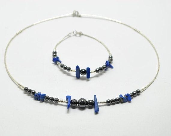 Parure argenté en lapis lazuli et hématite