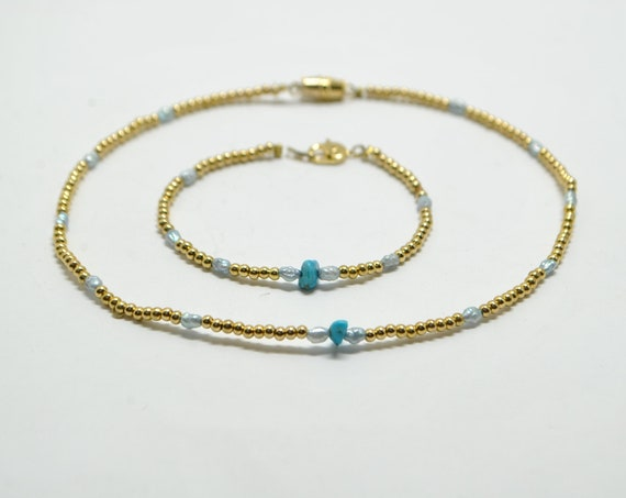 Parure doré en turquoise et perle d'eau douce