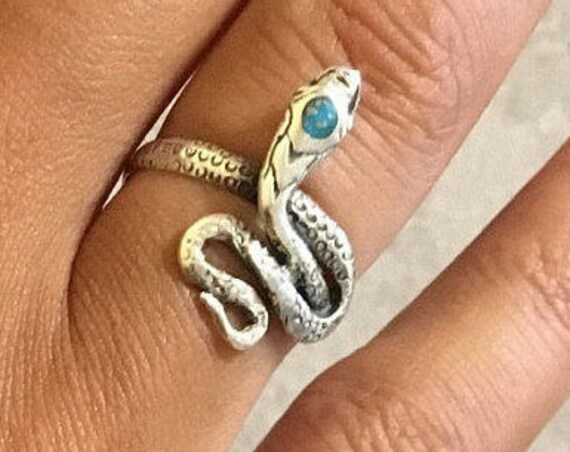 Snake silver ring and native american turquoise, snake rings, snake ring, vintage snake ring, vintage snakes rings, turquoise snake rings