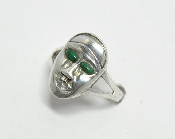 Bague malachite visage