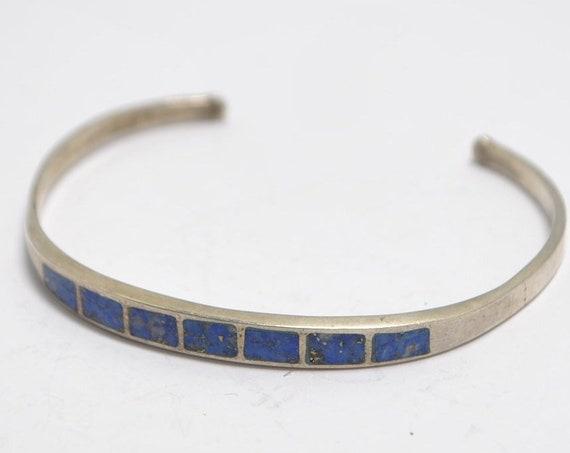 Bracelet manchette lapiz lazuli et argent