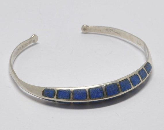 Lapiz Lazuli cuff bracelet and sterling silver