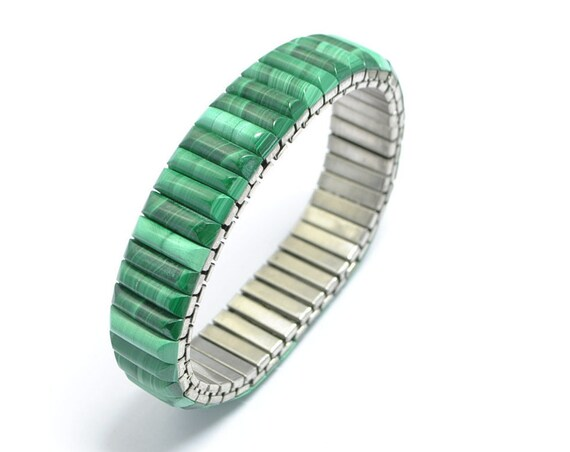 Bracelet extensible en malachite