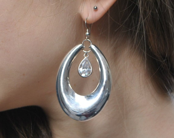 Vintage earrings with sterling silver and zirconium
