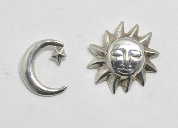 Moon and sun sterling silver earrings, vintage