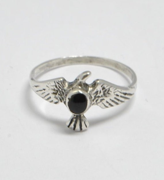Onyx eagle ring for woman, sterling silver