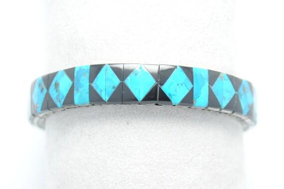 Bracelet extensible en turquoise naturelle et onyx