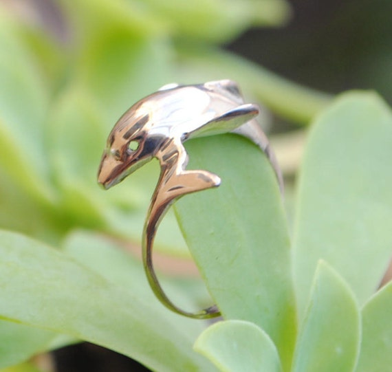 Dolphin ring - silver ring - dolphins - vintage ring - iroquoise