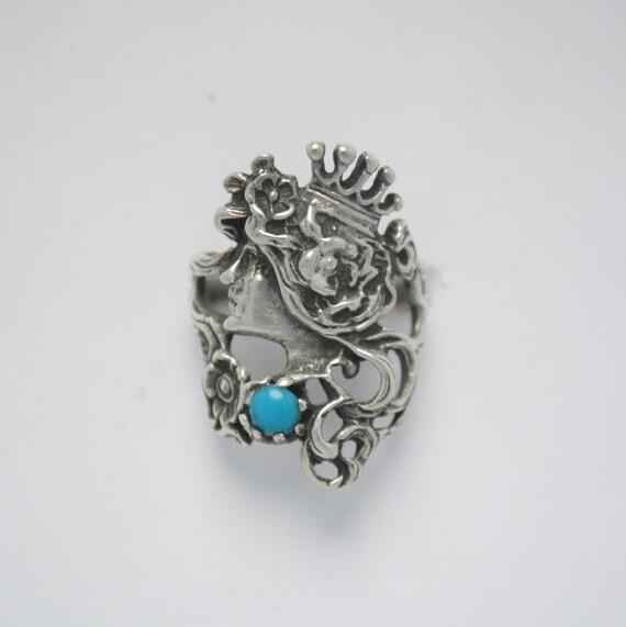 Bague reine couronne en argent et turquoise