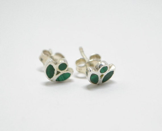 Ear studs made of malachite and sterling silver