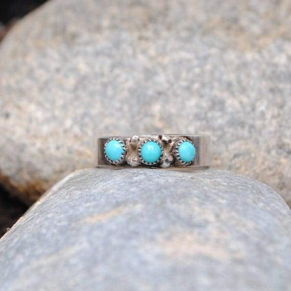 Bague navajo en turquoise et argent