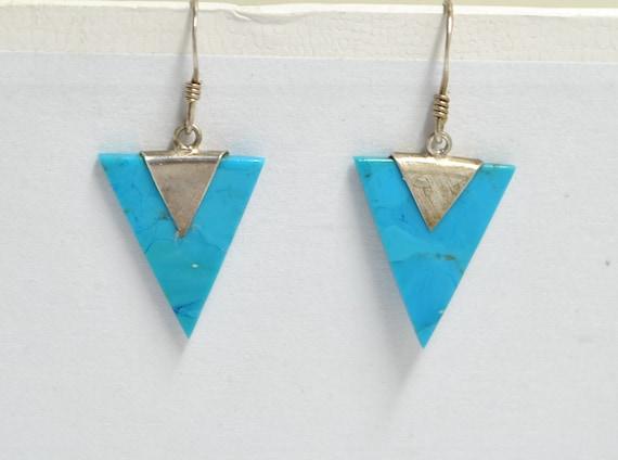 Boucles d'oreilles triangle en turquoise naturelle et argent 925