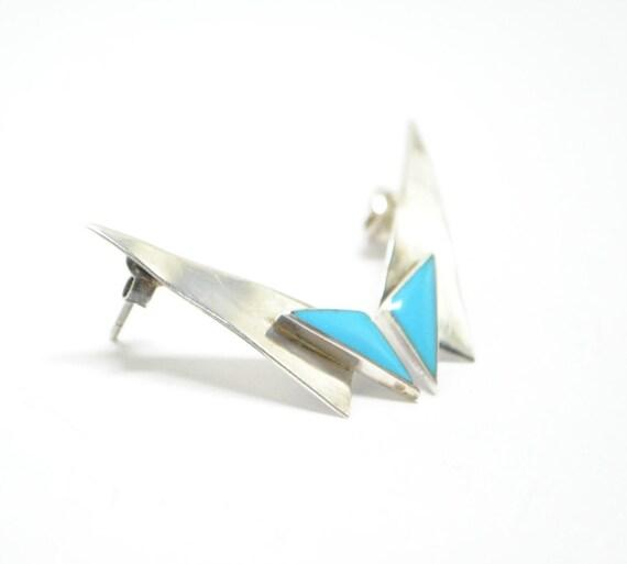 Boucles d'oreilles triangles en turquoise et argent