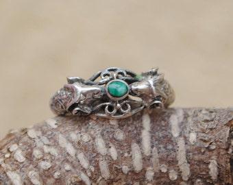 Malachite ring ram shape, silver ram ring, ram silver ring, vintage animal ring, vintage animals rings, malachite rings, vintage rings