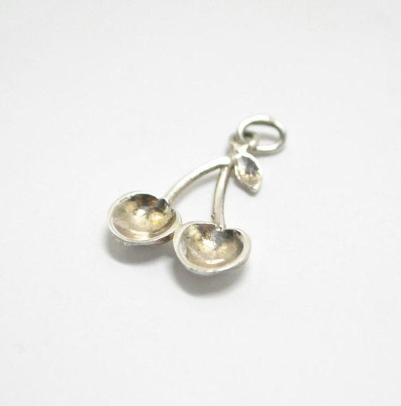 Silver cherry pendant necklace