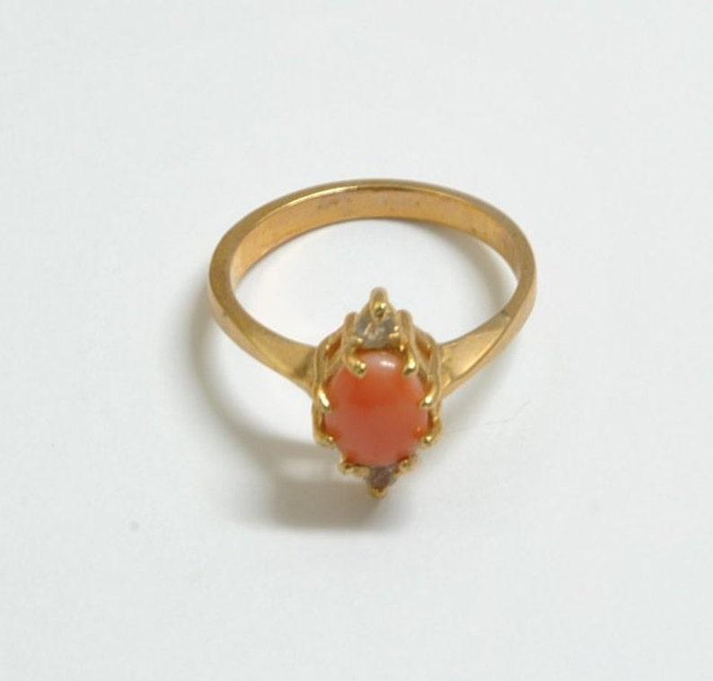 vintage ring vintage coral ring angel skin coral vintage jewelry real coral Coral ring pink coral coral jewelry