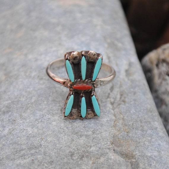 Bague Zuni en argent, turquoise naturelle et corail