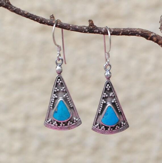 Boucles d'oreilles en turquoise et argent 925