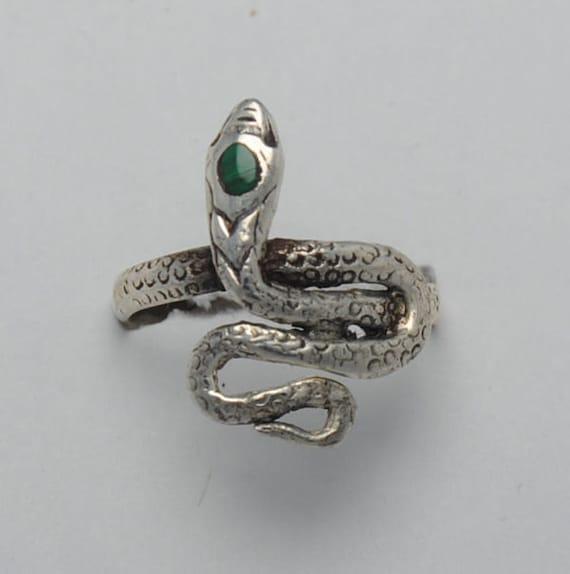 Malachite ring snake sterling silver, snake ring, snakes, snake rings, vintage snake ring, vintage ring, malachite vintage ring, vintage