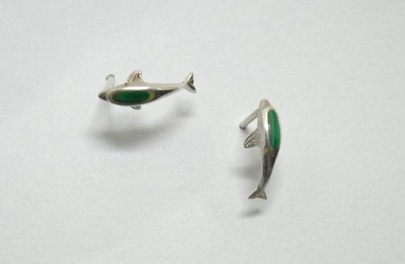 Puces d'oreilles dauphin en argent et malachite