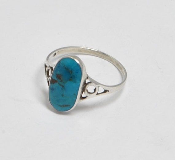 Turquoise ring with sterling silver, woman ring