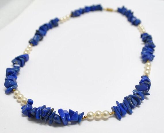 Collier en lapiz lazuli et perles de culture