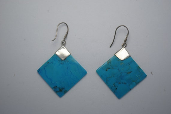 Native american turquoise earrings with sterling silver