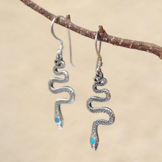 Boucles d'oreilles serpent en turquoise et argent