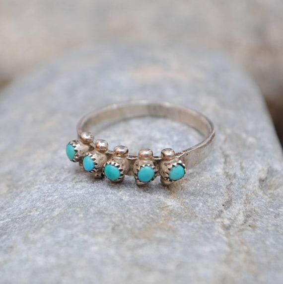 Bague turquoise - bague vintage - bague boho - bague navajo - bague amérindienne - bague faite main - bijoux turquoise - bijoux vintage