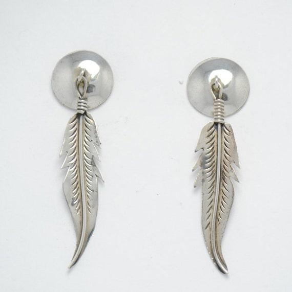 Boucles d'oreilles plume en argent