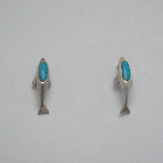Boucles d'oreilles dauphin en turquoise et argent