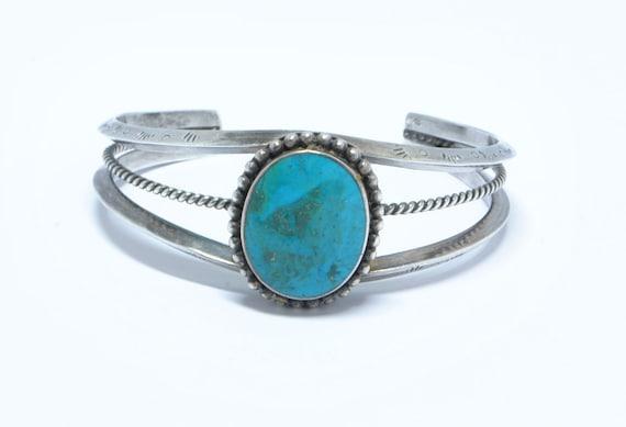 Bracelet manchette en turquoise et argent