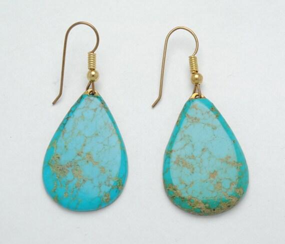 Boucles d'oreille goutte en turquoise et argent
