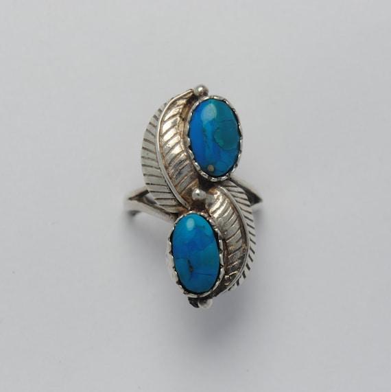Bague plumes en argent et turquoise