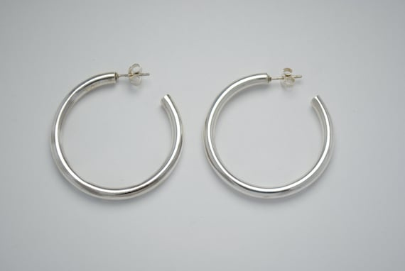 Hoop earrings - sterling silver earrings - large hoop earrings