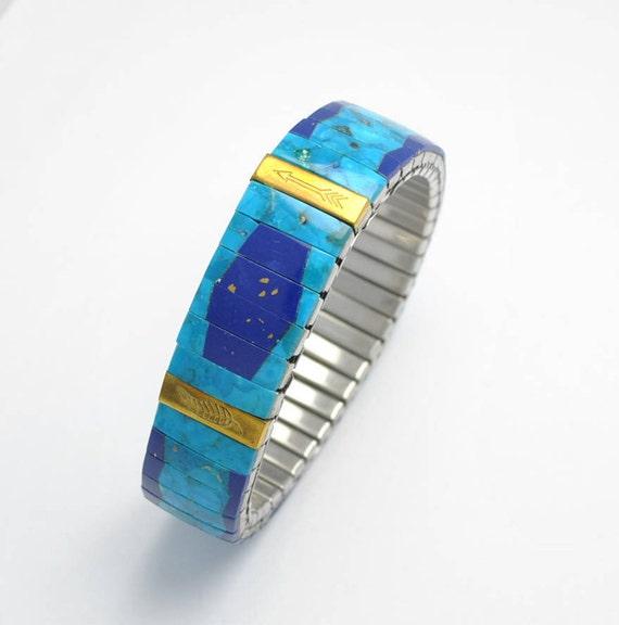 Bracelet extensible en turquoise naturelle et lapis lazuli