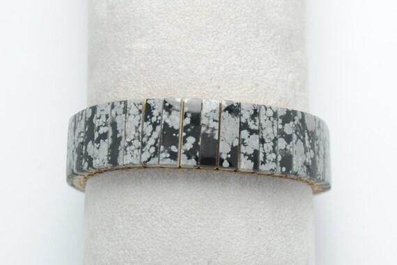 Bracelet extensible en Obsidienne Flocons de neige