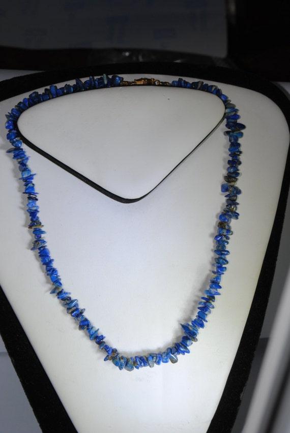 Lapis lazuli necklace, vintage chips necklace