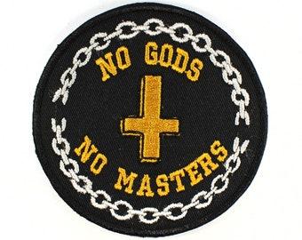 No Gods No Masters Patch Feminist Atheist Anarchy